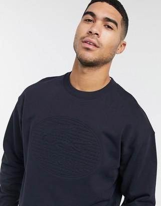Lacoste tonal logo crew neck sweatshirt in black