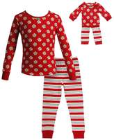 Dollie & Me Girls 4-14 Holiday Swirls & Stripes Pajama Set
