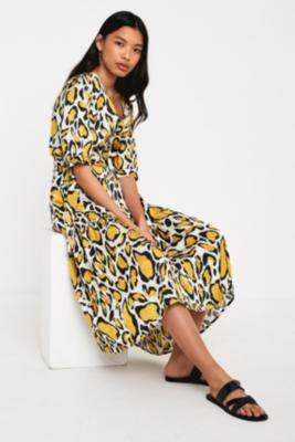 Gestuz Irina Abstract Animal Print Midi Dress - yellow 38 at Urban Outfitters