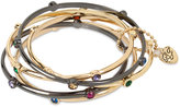Betsey Johnson Two-Tone 5-Pc. Set Stone Enhanced Bangle Bracelets