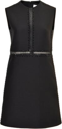Valentino Embroidered Wool-Silk Mini Dress