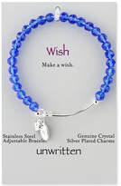 Unwritten Crystal Bead Adjustable Bangle Bracelet in Silver-Plate