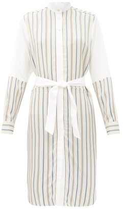 Wales Bonner Sterling Panelled Striped Shirt Dress - White Multi