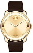 Movado 'Bold' Crystal Accent Leather Strap Watch, 42mm