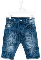 Diesel printed denim shorts