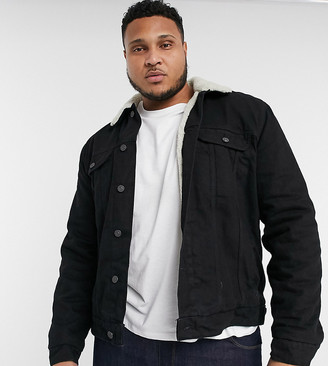 ASOS DESIGN Plus denim jacket with ecru teddy lining in black