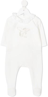 Chloé Kids Pegasus Embroidery Ruffled Collar Pajama