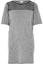 River Island Womens Grey mesh insert longline T-shirt