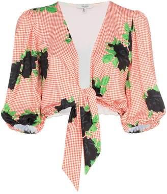Ganni checkered crop tie puff sleeve top
