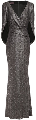 Talbot Runhof Rosin Cape-effect Sequined Metallic Stretch-jersey Gown