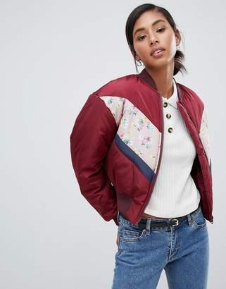 Asos Design DESIGN floral colourblock bomber jacket-Multi