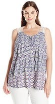 Notations Women's Plus Size Printed Sleevless Asymetrical Layer Blouse with Crochet At Back