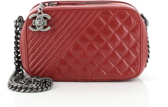 Chanel Coco Boy Camera Bag Quilted Leather Small