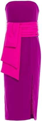 Jay Godfrey Strapless Belted Two-tone Cady Midi Dress