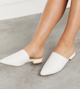 Truffle Collection Wide Fit flat pointed mules in white