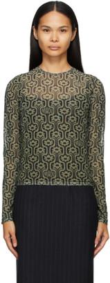 Miaou Green and Black Mesh Long Sleeve T-Shirt