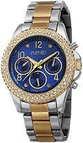 August Steiner Women's AS8136TTBU Silver & Yellow Gold Multifunction Quartz Watch with Blue Dial and Yellow Gold & Silver Bracelet