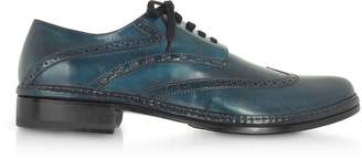 Pakerson Petrol Blue Handmade Italian Leather Wingtip Oxford Shoes