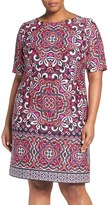 Eliza J Plus Size Women's Border Print Ponte Shift Dress