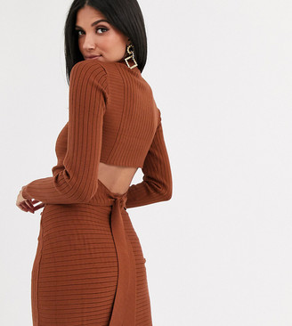 Asos Tall DESIGN Tall rib co-ord jumper with cross back detail-Brown