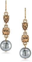 Carolee 12K Goldplated 10MM Faux Pearl Triple Drop Earrings