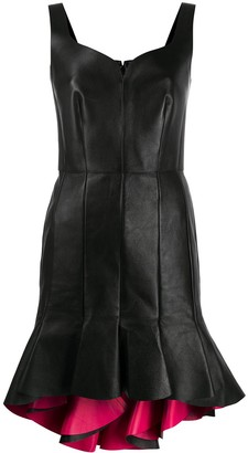 Alexander McQueen Peplum Hem Leather Dress