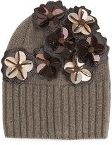Le Chapeau flower appliqué beanie