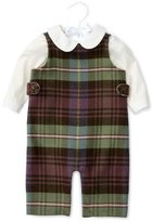 Ralph Lauren Plaid Cotton-Blend Overalls w/ Poplin Shirt, Blue/Green/Red, Size 6-24 Months