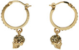 Alexander McQueen Gold and Pink Mini Skull Hoop Earrings