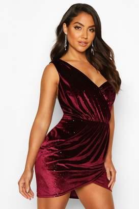 boohoo Sparkle Velvet Off Shoulder Drape Mini Dress