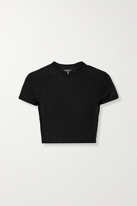 Twenty Montreal Connect 3d Cropped Stretch Jacquard-knit T-shirt - Black