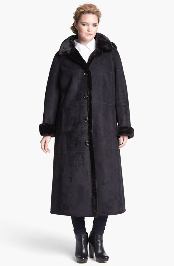 Gallery Faux Shearling Coat with Detachable Hood (Plus Size)