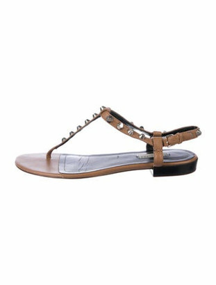 Balenciaga Leather Studded Accents T-Strap Sandals Brown