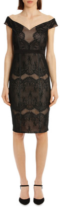 Lipsy Black Lace Bardot Dress