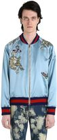 Gucci Embroidered Patch Silk Duchesse Bomber