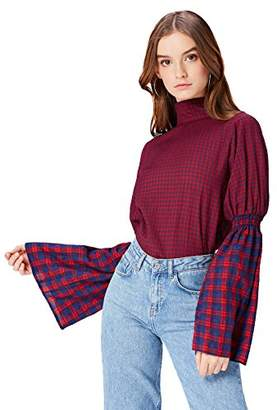 find. Women's Blouse Long Sleeve Turtle Neck, Multicoloured (Navy-red Check), 8 (Manufacturer size: X-Small)