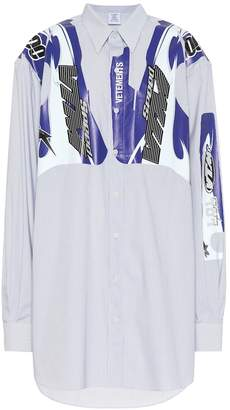 Vetements Printed striped cotton shirt