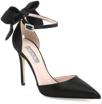 Sarah Jessica Parker Trance Bow Satin Ankle-Strap Pumps
