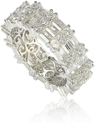 Suzy Levian Sterling Silver Modern Tri-Row White Bagguette CZ Eternity Band