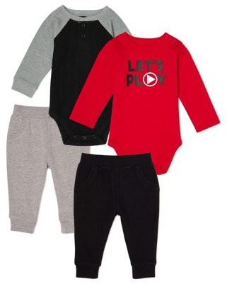 Garanimals Baby Boy Long Sleeve Bodysuit & Joggers Outfit Set, 4-Piece