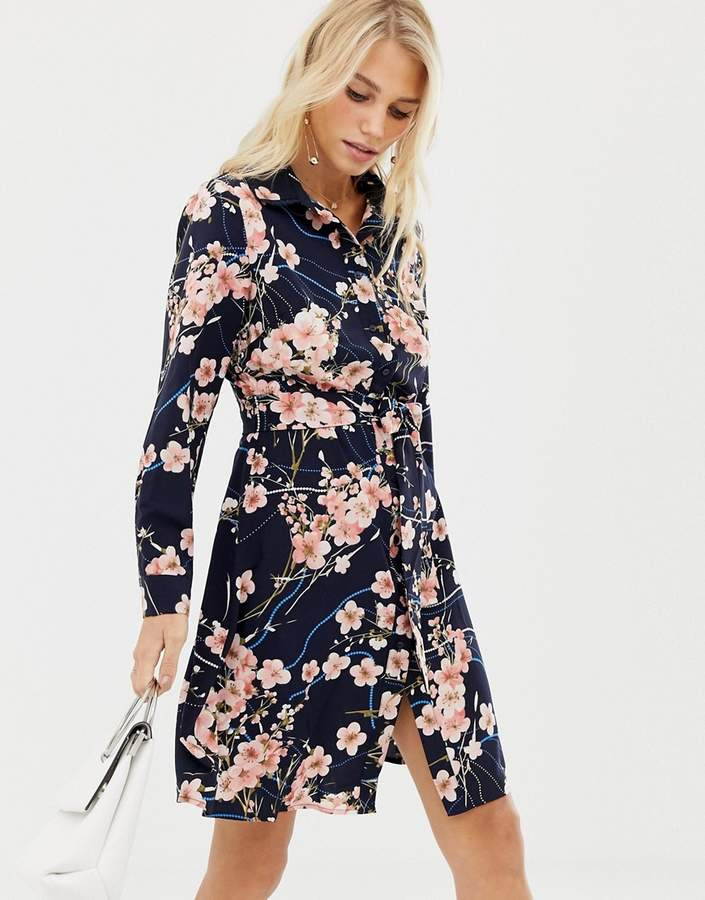 Liquorish blossom floral print shirt dress