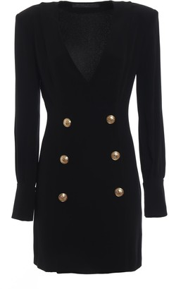 Balmain Double-Breasted V-Neck Dress