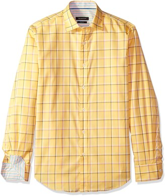 Bugatchi Men's Slim Fit Lemon Window Pane Long Sleeve Sport Shirt