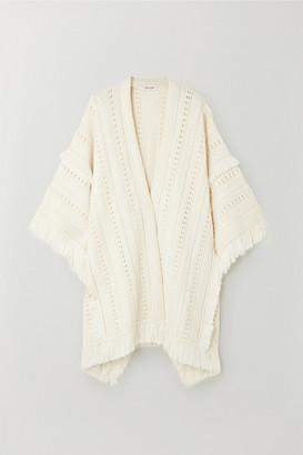 Saint Laurent Fringed Wool Poncho - Ivory