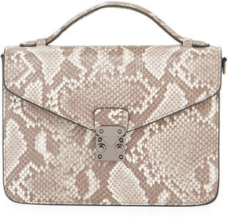 Jagger Kc Lydia Python-Print Top Handle Satchel Bag