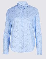 M&S Collection PETITE Cotton Rich Star Print No Peep Shirt