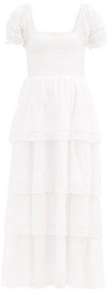 LoveShackFancy Capella Tiered Cotton-voile Maxi Dress - White