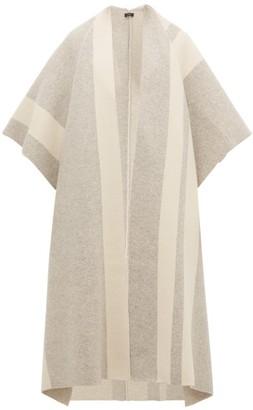 Joseph Striped Wool-blend Poncho - Grey White