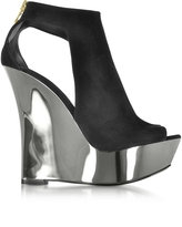 Balmain Amaya Chrome Black Suede Wedge Sandals