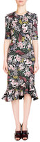 Erdem Lucy Floral-Print Half-Sleeve Dress, Pink/Black